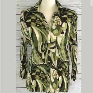 🍄Nicola Womens Green Crinkle Button Shirt Top